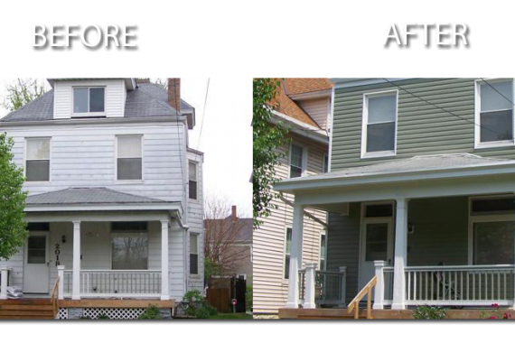before and after siding